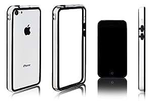 Xcessor Classic Bumper Étui Coque Housse Pour Apple iPhone 5C. Caoutchouc et Plastique. Noir / Transparent