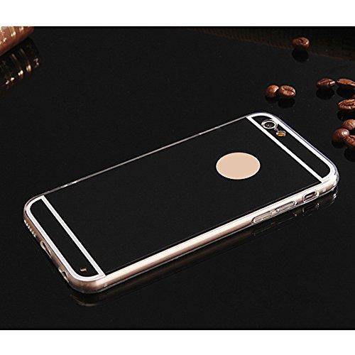 Forepin® Luxus Spiegel Hülle für iPhone 6 / 6S, Ultra Dünn Silikon Schutzhülle Tasche Rückseite Schalen Case Rahmenschutz Schwarz
