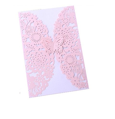nhalter Hochzeit EinladungsKarten Glückwunsch Einladung Karten,Elegante Blume Spitze Partyeinladungen für Hochzeit Geburtstag Verlobung Party (Style-7) ()