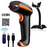 Tera Barcode Scanner 1D 2D wireless QR mit Ständer kabellos und USB Handscanner 500 Scans/Sek 4 Mil Auflösung 360° Scannen 100m Reichweite mit Anleitung in Deutsch