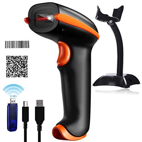 Tera Barcode Scanner 1D 2D wireless QR mit Ständern kabellos und USB Handscanner 500 Scans/Sek 4 Mil Auflösung 360° Scannen 100m Reichweite mit Anleitung in Deutsch