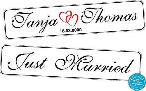 A-Z Store Original KFZ-Kennzeichen Hochzeit Autoschilder Hochzeitsschilder Hochzeitsschild Namensschilder Just Married mit Datum und Namen 0219-0010