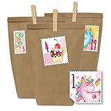 Papierdrachen 24 Sacchetti di Carta per Il Calendario dell'Avvento con Adesivi e 24 mollette di Legno - Motivo timbri con unicorni - 50