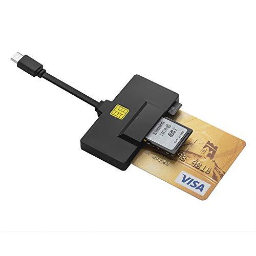 DAOKER USB C-Kartenleser, DOD Military CAC-Kartenleser, Personalausweis Kartenleser Kompatibel mit Windows, Mac OS und Linux | Eingebaut 3 Slots SD/Micro SD-Kartenleser