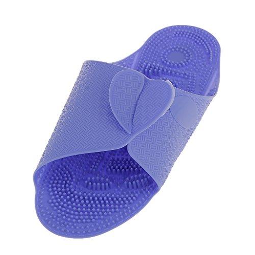 Générique Chaussons de Plage Pliable Portable Voyage Pantoufles Massage Antidérapantes Unisexe - Bleu/Rose