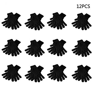 TShopm Numkuda 12 Pairs Magic Gloves Adult Children Full Five Fingered Stretchy Knitted Winter