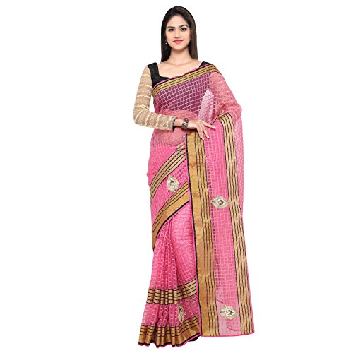 Sarvagny Clothing Women's Pink Kota Cotton & Silk Cotton Blend Fashion Saree with Blouse Piece  available at amazon for Rs.299