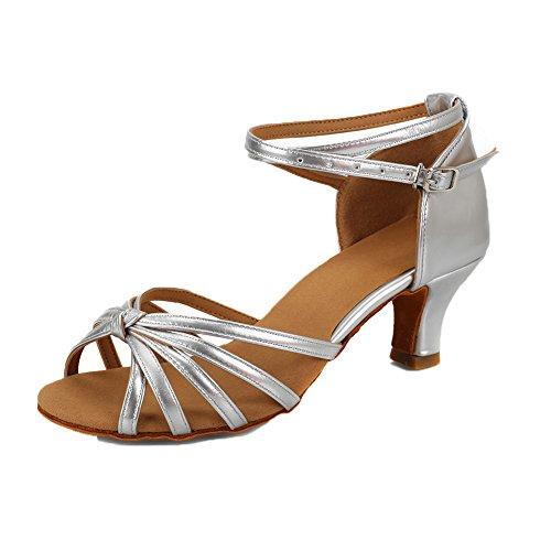 VASHCAME Damen Hoher Absatz Tanzschuhe Standard/Latein Silber Knoten (Absatzhöhe-5CM) 41 EU