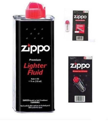 Zippo Ricambi Originali - 2x Lattina di Benzina 125ml +  12x Pietre Focaie + 2x Stoppino