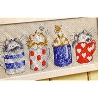 Gatos en tazas de punto de cruz Kits, 18* 32cm DMC hilo algodón kits de punto de cruz, diseño de gato