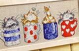 Chats en Tasses Kits de broderie au point de croix, fil DMC 18*32cm Coton Chat au point de croix Kits