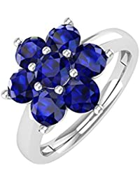 14K Gold Blue Sapphire Star Form Engagement Ring (11/4Karat)