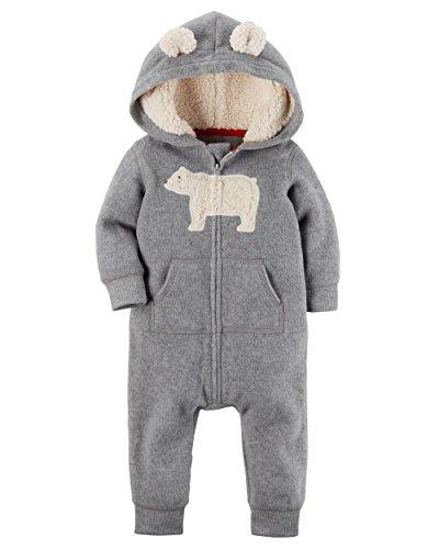 Carter's Overall Fleece Einteiler mit Kapuze Junge Baby boy Strampler weich (18 Monate, grau) (Carters Fleece-overall)