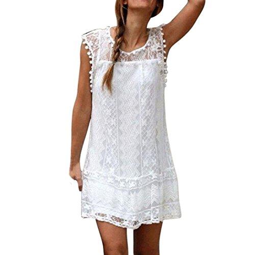 Robe Femme Chic POachers Mini-robe été Blanche Dentelle Dress Sans Manches Col Rond Taille S à XL (L)