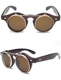 Trend Double Clamshell Gafas De Sol Retro Redondas Steam Sunglasses En Europa Y Estados Unidos Protección UV Lentes Polarizadas Metal,D…