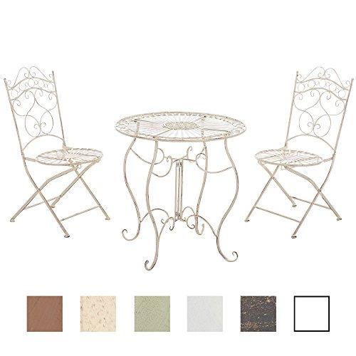 Clp set da giardino indra tavolo + 2 sedie - set da esterno tavolo e sedie pieghevoli in ferro dallo stile vintage – set da balcone stile shabby con tavolo outdoor rotondo - colori a scelta: crema antico