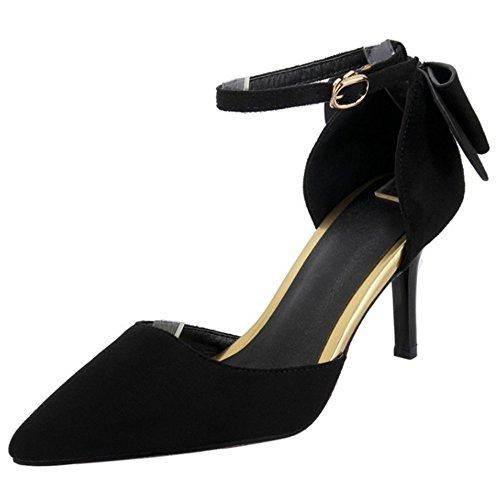 COOLCEPT Femme Mode Sangle De Cheville Sandales Talon Aiguille Bout Ferme Chaussures Avec Bow Noir