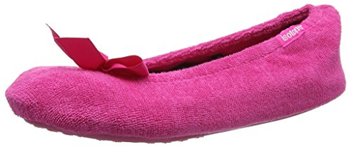 isotoner-damen-terry-ballerina-slippers-pantoffeln-pink-hot-pink-medium