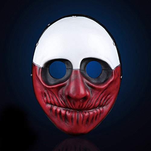 BeesClover H&D Hochwertige Payday 2 Wolf-Masken aus Kunstharz für Halloween, Party, Cosplay, Männer, Joker, Maskerade, Kleid, Requisite für Festliche und ()