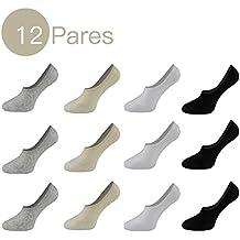 12 Pares Calcetines Cortos Invisible Para Hombre Respirable con Silicona Antideslizante