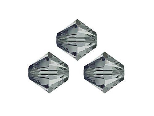 Creative-Beads Swarovskiperlen, Doppelkegel, konisch, 5328, Original, 8 mm, 10 Stück, black diamond, glitzernde Ohrringe, Armbänder Ketten selbermachen