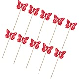 MagiDeal 10pcs Fabric Butterfly Cupcake Picks Cake Toppers Party Decoration - Red