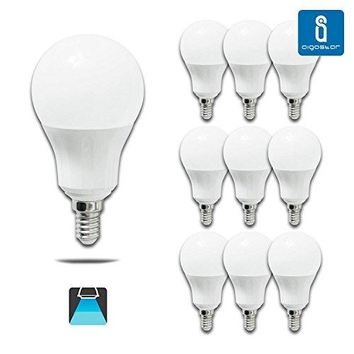 Aigostar - Bombilla LED E14, 9W equivalente a 70W, 720lumen Luz blanca fría 6400K Ángulo 280°,no regulable 10 unidades[Clase de eficiencia energética A+]