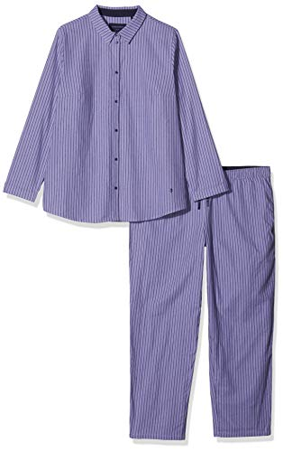 Seidensticker Damen Flanell Pyjama lang Zweiteiliger Schlafanzug, Blau (Lavendel 809), 40 (Herstellergröße: 040) -