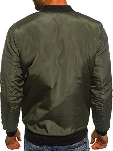 ozonee Uomo Giacca da mezza stagione Giacca con cappuccio bomber giacca Stitch Giacca casual SP ortjacke J. STYLE ak85 cachi _js-ak93
