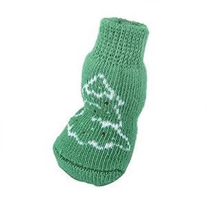 Lot de 4 Chaussettes Antidérapantes pour Chiot Petit Chien Motif de Sapin de No?l Vert Taille S