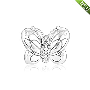 925 Sterling Silver Decorative Butterfly Charm Fit European Bracelet