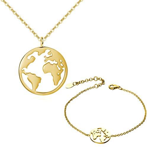 URBANHELDEN - Worldmap Schmuckset Damen - Halskette & Armband mit Weltkarten Anhänger - Kette Amulett aus Edelstahl und Armkette mit einer kleinen Weltkugel - Schmuck-Set 2 Gold