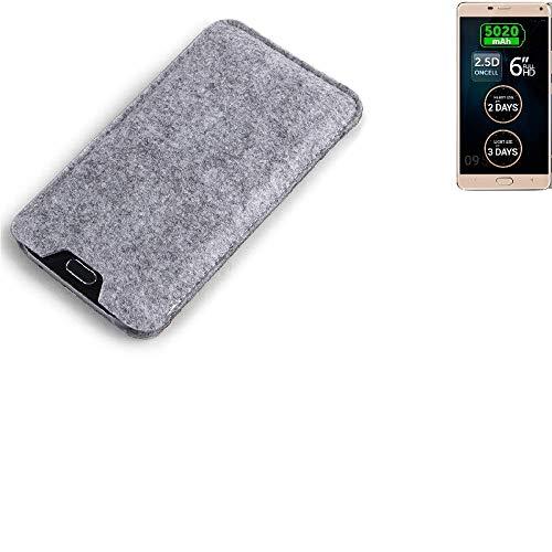 K-S-Trade Filz Schutz Hülle für Allview P8 Energy Pro Schutzhülle Filztasche Filz Tasche Case Sleeve Handyhülle Filzhülle grau