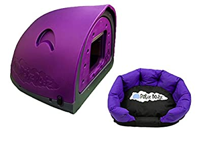 Petzpodz DOG POD with removeable front flap insert MEDIUM designer purple plastic dog crate, cave & den, dog kennel house dog home and igloo for indoor and outdoor use