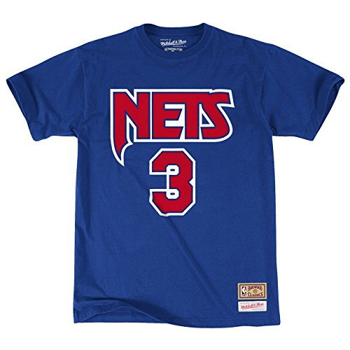 Mitchell & Ness Drazen Petrovic #3 New Jersey Nets Name & Number NBA Tee Blau M