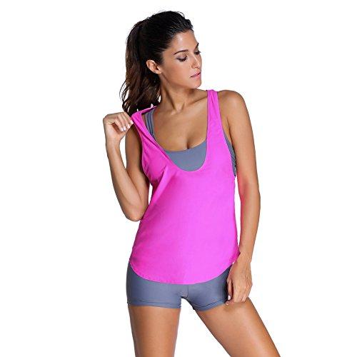 FeelinGirl Damen Tankini mit Shorts Dreiteilig Schwimmanzug Bademode Strandmode Bikini Set XXL Y-Rosa