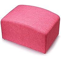 Preisvergleich für YYdy-Polsterhocker Holz gepolstert Ottoman Change Schuhe Hocker Fußhocker Fußstütze klein Sitz Fußstütze Stuhl geeignet für Wohnzimmer Schlafzimmer (Farbe : Water red)