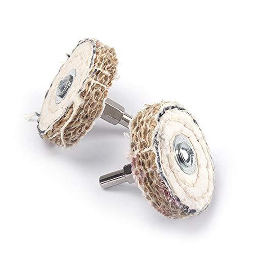 Polierscheibe, 5 Stück, 5,1 cm, Sisal, Polierscheibe, Polierwerkzeug mit 6,35 cm Schaft zum Polieren von Edelstahl