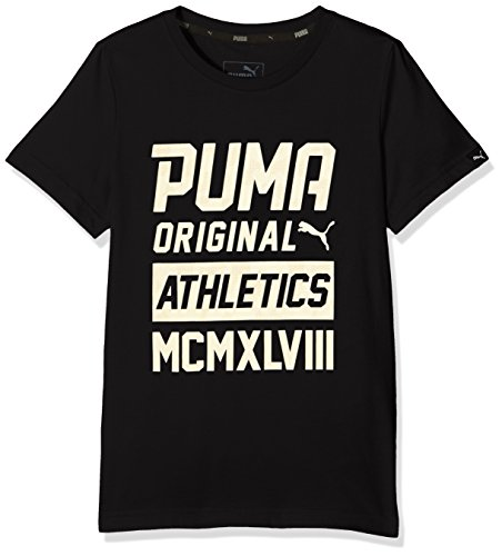 Puma Kinder Style Graphic Tee T-Shirt, Cotton Black, 152