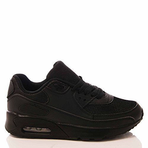 LADIES WOMENS TRAINERS GYM FITNESS SPORTS RUNNING SIZE S2 All Black 5_uk