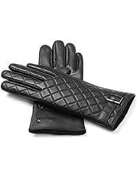 a923fdaab360a8 napo gloves napoELEGANT - Touchscreen Lederhandschuhe mit Quilt für Damen  aus Lammnappa Leder in Schwarz mit
