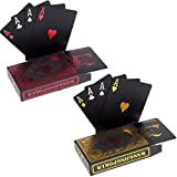 2 x Cartes de Poker en Plastique Professionnelles imperméables Noir Playing Cards Plastique PVC Cartes Texas Hold'em Poker Carte -1 Red & 1 Gold