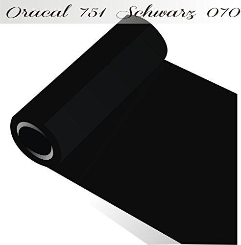 Oracal 751 von Orafol glänzend - Farbe High Performance - für Küchenschränke und Dekoration / Autobeschriftung / Schutzfolie Folie 5m - Breite 50 cm - Farbe 70 - schwarz