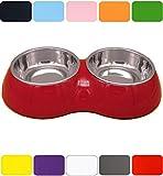 DDOXX Doppel Fressnapf in vielen Farben & Größen für kleine & große Hunde Katzen | Futternapf Katze klein | Hundenapf Hund groß | Katzennapf Edelstahl | Melamin-Napf | Rot, 2 x 350 ml