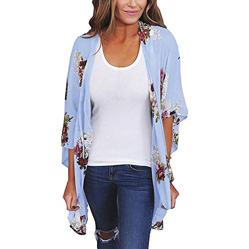Aiserkly Damen Chiffon Lose Schal Print Kimono Cardigan Top Cover Up Bluse Beachwear