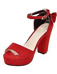 COOLCEPT Mujer Western Tacon Ancho Al Tobillo Sandalias Punta Abierta Zapatos With Bowknot