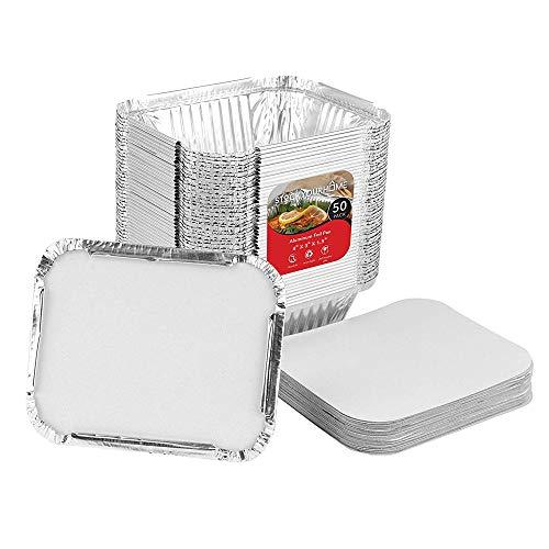 Stock Your Home Folienpfannen 1lb Oblong Pan (50 Pack with Cardboard Lid) silber Aluminium-oblong Pan