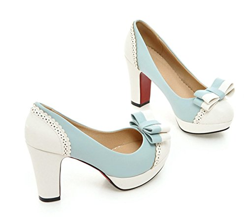 YE Plateau Chunky High Heels Schleife Elegant Pumps mit Bequem Blockabsatz Party Office Schuhe Damen Blau