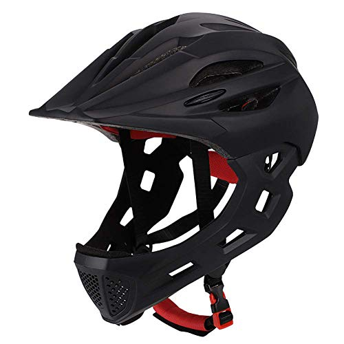 Po Fahrradhelm Kind Vollüberzogener Gesichtsschutz Abnehmbar Geeignet für Laufrad Radfahren Motocross Atmungsaktiv Sicherheit Multicolor,Black