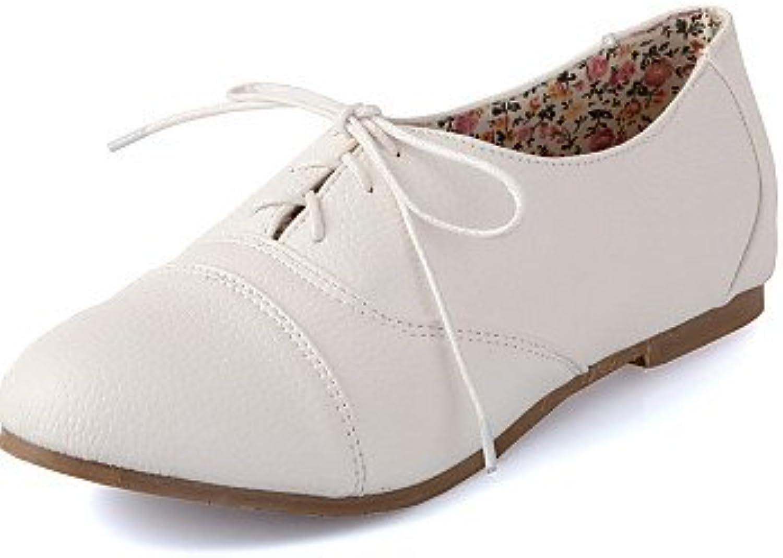 NJX/ hug Zapatos de mujer - Tacón Bajo - Punta Redonda - Oxfords - Casual - Semicuero - Negro / Amarillo / Blanco...